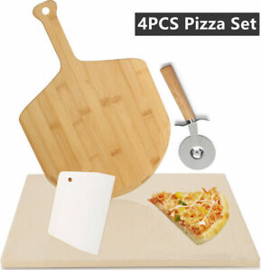 "15x12"" Ceramic Pizza Baking Stone Set Pizza Board Pizza Cutter Pizza Scraper 4X"