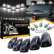 5 Roof Cab Marker Light Smoke Cover + 5 White LED Bulb for Chevy GMC K2500 K3500