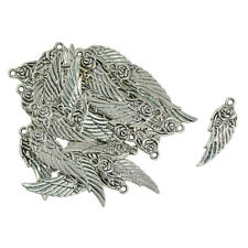 30Pcs DIY Antique Silver Steampunk Angel Wing Rose Charm Pendants 11x31mm