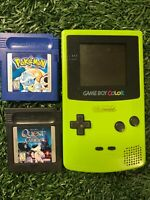 Nintendo Game Boy Color Kiwi Lime Green w/Pokemon blue GAME