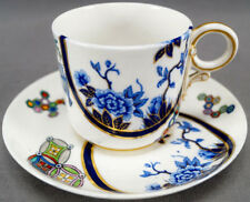 Royal Worcester B315 Cobalt & Multi Color Aesthetic Coffee Cup & Saucer C 1878 C