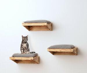 animal-design Wandliege FLAME Katzenliege Holz Wandmontage rustikal Kletterwand