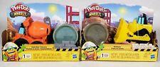 Lot Of 2 Hasbro Play-Doh Wheels Construction Toy Trucks Bulldozer Cement Mixer