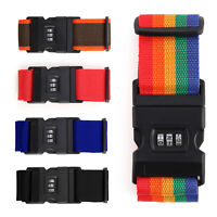 Adjustable Suitcase Luggage Baggage Lockable Straps Combination Lock Belt Tie UK
