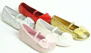 Girls Shoes Glitter Sparkle Gold Red White Silver Dress Costume Party Wedding