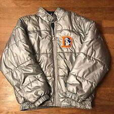 Vintage Denver Broncos Silver Puffy Winter Jacket NFL Football Starter Large