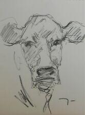 JOSE TRUJILLO Original Charcoal - Paper Sketch Drawing 9X12 Cow Calf Cattle Art