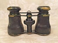 Antique Chevalier Opera Glasses Binoculars Paris France Leather and Brass