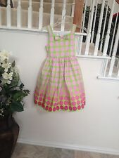 Bonnie Jean Pink Polka Dot Dress With Sash Size 10