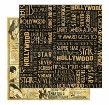 Graphic 45 2 sheets, Vintage Hollywood collection, Silver screen 12 x 12 paper