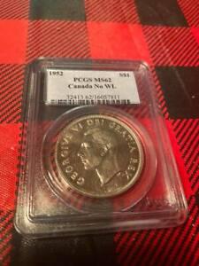 1952 Canada Dollar No WL PCGS MS 62
