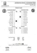 Teamsheet - Accrington Stanley Youth v Fleetwood Youth 2015/16 FA Youth Cup