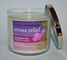 NEW BATH & BODY WORKS STRESS RELIEF EUCALYPTUS TEA CANDLE 3 WICK 14.5 OZ LARGE
