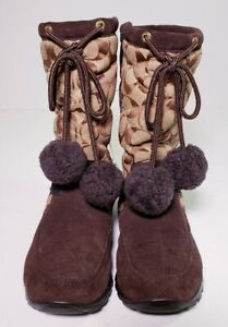 Coach Women's Juniper Signature Quilted Suede Trim Winter Boots # 7311! Size 7 B