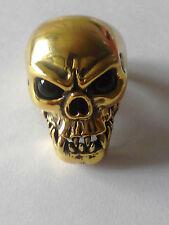 Bronze Fang Skull Biker Ring Black Crystal Eyes Custom Size Vampire VooDoo R013b