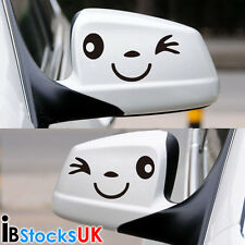 Smile Face Car Wing Door Mirror Stickers Decal Gift Birthday Xmas New Golf Black
