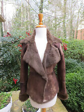 PELLESSIMO PARIS Brown Lambskin Suede and Fox Coat Jacket Small GREAT DEAL