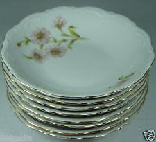 VINTAGE WHITE,PINK DAISY BELL FLOWERS SET 8 EMBOSSED,GOLD RIMS,SMALL CREAM BOWL