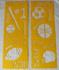 "Delta Sports Stencils on Two 7""X 20""  Football Basketball Soccer Baseball Team"