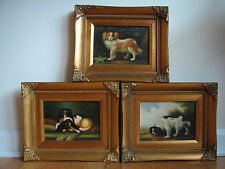 3 - Vintage G. Roy Spaniel Dog Oil/Board Portrait Painting after 18thc Stubbs