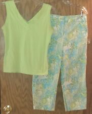 Croft & Barrow Larry Levine Small 8 Petite Outfit Capri Pants Shirt Green Jungle