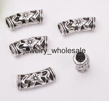 10pcs Tibetan Silver Flower Hollow Curved Tube Spacer Beads Jewelry 19.5mm D3063