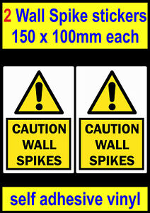 2 Caution wall spikes stickers Fence security Intruder deterrent door sign decal