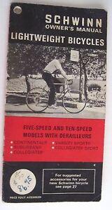 "1972 ""Schwinn Owner's Manual - Five Speed and Ten Speed Bicycles *"