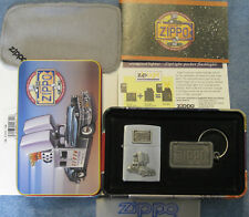 ZIPPO 1998 CAR Lighter & Key Ring PEWTER EMBLEM Tin with Sleeve POLISHING CLOTH
