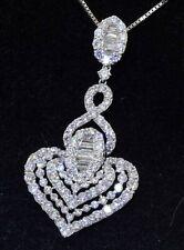 Designer signed 18K WG 4.0CTW VS1/F diamond cluster heart pendant necklace