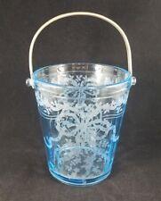 "Fostoria JUNE (Blue) Ice Bucket w/detachable metal handle  6""  H X 5 1/4"" A"