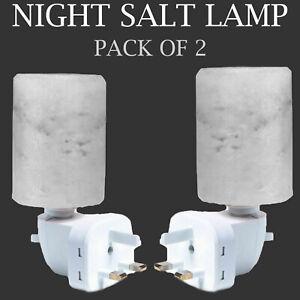White Himalayan Salt Lamp Night Light Crystal Rock Hand Craved Wall Plug-In