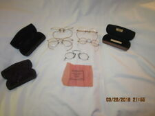 Lot of Four Pairs of Antique Gold Rimmed Gold Filled Eye Glasses and Three Cases
