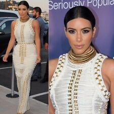 kim kardashian white Long Sleeve Less bandage gold studded beaded maxi dress L