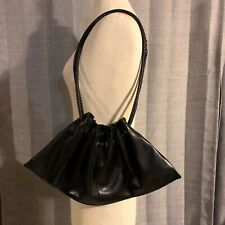 VTG Chateau Black Faux Leather Drawstring Purse Handbag