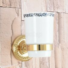 Gold Color Brass Wall Mounted Bathroom Toothbrush Holders Single Ceramic Cup