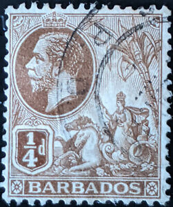 Stamp Barbados SG170 1912 1/4d Colonial Seal Used