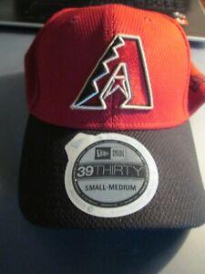 """""""ARIZONA DIAMONDBACKS"""" NWT MLB NEW-ERA HAT Adult Stretch Fit S/M Black/Red  $28"""