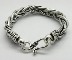 "1 Piece Bracelets Braided Chain Bali Silver Bracelet Chain 7"" Long"