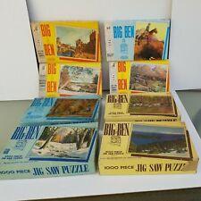 LOT of 7 Vintage MB BIG BEN 1000pc Puzzles--See Description Below