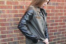 Topshop Khaki Green Jacket With Leather Sleeves Size 10 worn once