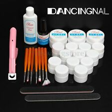 Acrylic Powder Nail Art Kit UV Gel Manicure DIY Tips Polish Brush Set Nail Tools