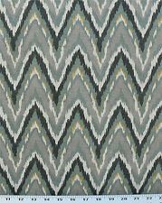 Drapery Upholstery Fabric Cotton Flame Stitch Design 100K DRubs - Teal / Gray