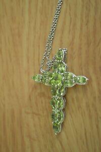 "5.70ct Peridot Cross Pendant with 20"" Chain ~ Platinum over Fine Silver"