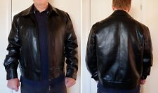 "Men's black leather look casual jacket in medium 44"" chest"