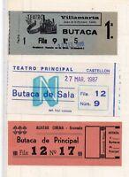 Entradas a teatros de Cadiz Castellon y Granada año 1985-87 (DW-161)