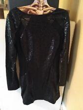 ASOS Neon Rose Sequin Dress NWT US 6 S/M Black mesh bodycon