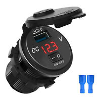 Quick Charge 3.0 USB Car Charger Socket Digital Display Voltmeter ON-OFF Switch