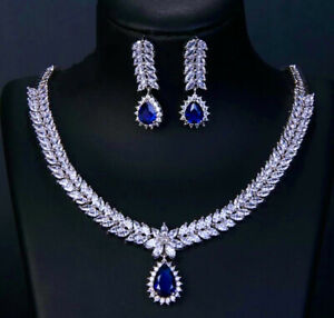 18k White Gold GP Necklace Earrings made w Swarovski Crystal Blue Sapphire Stone