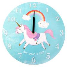 Unicorn Round Wall Clock: Pastel Blue Rainbow Design: Children's Wall Decoration